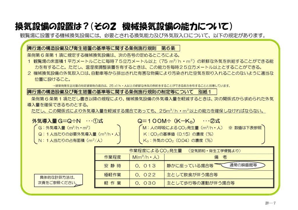映画館は、興行場法に定義されている「映画、演劇、音楽、スポーツ、演芸又は観せ物を、公衆に見せ、又は聞かせる施設」(東京都福祉保健局サイト参照) 興行場に分類されており、興行場法に定められている基準に従って営業許可を取得する必要があります。この興行場の営業許可には換気機能についての基準が設けられており、『観覧場の床面積1平方メートルごとに毎時75立方メートル以上 75 ㎥ h・㎡ の新鮮な外気を供給することができる能力を有すること。(一部抜粋)』という高い基準が設けられております。